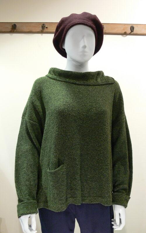 Ella medium tunic in fern, knitted in silk/lambswool