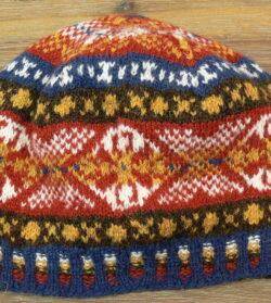 Traditional hand knitted fair isle beanie, in Jamieson's spindrift yarn