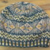 Traditional hand knitted fair isle beret, in Jamieson's spindrift yarn