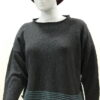 Tide short tunic in graphite/duck egg, knitted in silk/lambswool