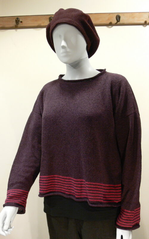 Tide short tunic in plum/cerise, knitted in silk/lambswool