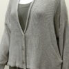 Norna short jacket in cloud, knitted in silk/lambswool