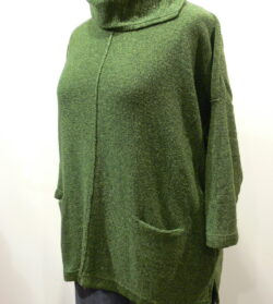 Ella over tunic in fern, knitted in silk/lambswool