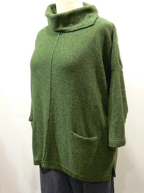 Ella over tunic in fern, knitted in silk/lambswool