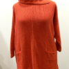 Ella over tunic in flame, knitted in silk/lambswool