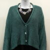 Norna short jacket in duck egg, knitted in silk/lambswool
