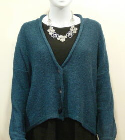 Norna short jacket in matelot, knitted in silk/lambswool