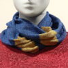 Quernstone loop scarf in iris with midnight and sand, knitted in 52%silk, 48%lambswool