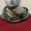 Quernstone loop scarf in shingle with mint and erin, knitted in 52%silk, 48%lambswool