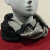 Quernstone loop scarf in graphite with cloud and indigo, knitted in 52%silk, 48%lambswool