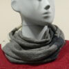 Quernstone loop scarf in dove with ivory and indigo, knitted in 52%silk, 48%lambswool