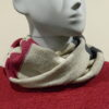 Quernstone loop scarf in ivory with cerise and indigo, knitted in 52%silk, 48%lambswool