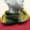 Quernstone loop scarf in sap with biscuit and fern, knitted in 52%silk, 48%lambswool
