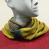 Quernstone loop scarf in sap with biscuit and duck egg, knitted in 52%silk, 48%lambswool