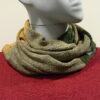 Quernstone loop scarf in biscuit with fern and sand, knitted in 52%silk, 48%lambswool