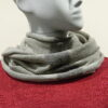 Quernstone loop scarf in cloud with dove and ivory, knitted in 52%silk, 48%lambswool