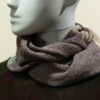 Quernstone loop scarf in erin, shingle and mint, knitted in 52%silk, 48%lambswool