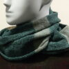 Quernstone loop scarf in duck egg, mint and loam, knitted in 52%silk, 48%lambswool