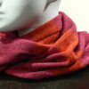 Quernstone loop scarf in flame, cerise and sap, knitted in 52%silk, 48%lambswool
