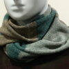Quernstone loop scarf in mint, duck egg and loam, knitted in 52%silk, 48%lambswool