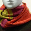 Quernstone loop scarf in flame, sap and cerise, knitted in 52%silk, 48%lambswool