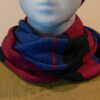 Quernstone loop scarf in iris, cerise and gentian, knitted in 52%silk, 48%lambswool