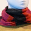 Quernstone loop scarf in cerise, graphite and flame, knitted in 52%silk, 48%lambswool