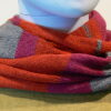 Quernstone loop scarf in cerise, dove and flame, knitted in 52%silk, 48%lambswool