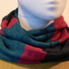 Quernstone loop scarf in teal, graphite and cerise, knitted in 52%silk, 48%lambswool