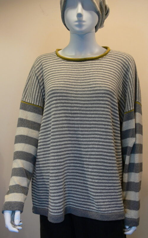 Rackwick striped medium tunic in dove/ivory/sap knitted in silk/lambswool