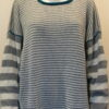 Rackwick striped medium tunic in dove/ivory/teal knitted in silk/lambswool