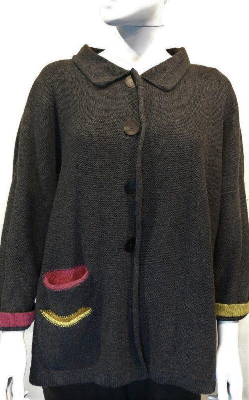 Duet medium jacket in graphite, sap, cerise. Knitted in silk/lambswool.