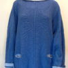 Carousel Medium Tunic in iris/delft knitted in silk/lambswool yarn, designed and made in Orkney