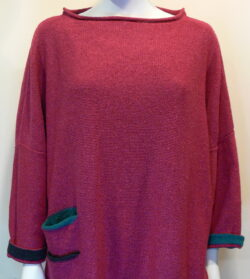 Duet medium tunic in cerise, midnight, teal. Knitted in silk/lambswool. Designed and made in Orkney