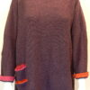 Duet medium tunic plum, flame, cerise. Knitted in silk/lambswool. Designed and made in Orkney